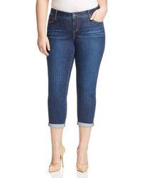 Slink Jeans Plus Slink Jeans Amber Boyfriend Roll - Cuff Jeans In Dark Blue