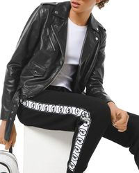 MICHAEL Michael Kors Logo Print Classic Leather Moto Jacket - Black