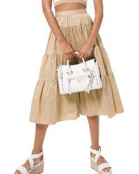 MICHAEL Michael Kors Poplin Tiered Skirt - Natural
