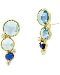 Freida Rothman - Imperial Blue Ear Climbers In 14k Gold-plated Sterling Silver - Lyst