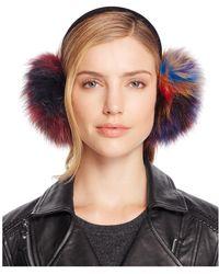 Surell Multi Colour Fox Fur Ear Muffs - 100% Bloomingdale's Exclusive - Blue