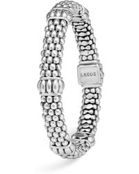 Lagos - Signature Sterling Silver Fluted Station Caviar Bracelet - Lyst