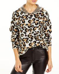 Aqua Hooded Leopard Print Jumper - Natural