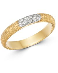 Meira T 14k Yellow Textured Gold Ring With Diamonds - Metallic