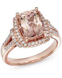 Bloomingdale's Morganite & Diamond Ring In 14k Rose Gold - Metallic