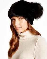 Maximilian Maximilian Mink Hat With Fox Pom - Pom - Black