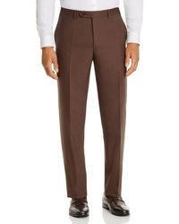Canali Siena Tropical Weave Classic Fit Dress Pants - Brown