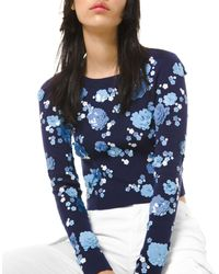 MICHAEL Michael Kors Floral Sequined Sweater - Blue