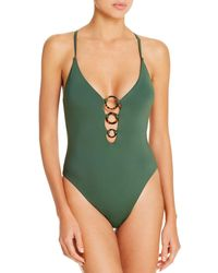 Aqua Swim Three - Ring Plunge One Piece Swimsuit - Green