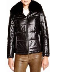 Maximilian Maximilian Leather Coat With Fox Collar - Black