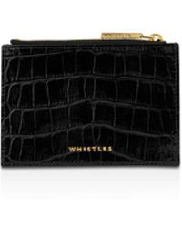 Whistles - Shiny Croc Leather Coin Purse - Lyst