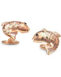 Jan Leslie Sterling Silver & Mother - Of - Pearl Koi Fish Cufflinks - Metallic