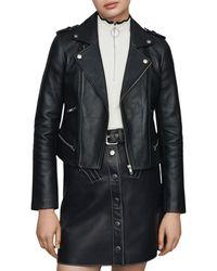 Maje Basalt Leather Moto Jacket - Black
