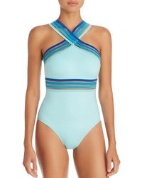 629fd9d35b Kenneth Cole - Ombré-trim High Neck One Piece Swimsuit - Lyst