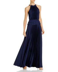 BCBGMAXAZRIA Pleated Georgette Gown - Blue