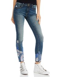Aqua Patchwork Skinny Jeans - Blue
