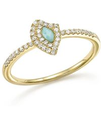 Meira T | 14k Yellow Gold Larimar Ring With Diamonds | Lyst