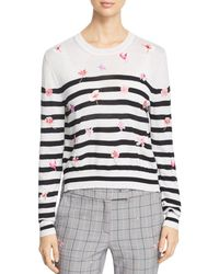 Marella - Rita Striped Floral-embroidered Sweater - Lyst