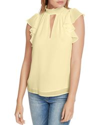 1.STATE Flutter - Sleeve Keyhole Top - Yellow