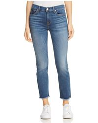 7 For All Mankind - Roxanne Ankle Fray-hem Jeans In B(air) Vintage Dusk - Lyst