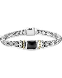 Lagos - 18k Gold And Sterling Silver Caviar Colour Bracelet With Black Onyx - Lyst