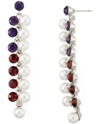 Aqua Simulated Pearl Linear Drop Earrings - Multicolour