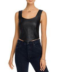 Aqua Faux - Leather Sleeveless Top - Black