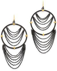 Armenta 18k Yellow Gold & Blackened Sterling Silver Old World Champagne Diamond Earrings - Metallic