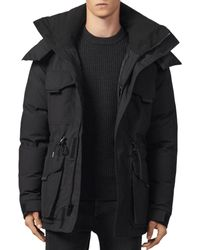 Sandro Hooded Down Parka Coat - Black