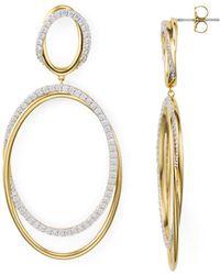 Nadri - Pavé Large Drop Hoop Earrings - Lyst