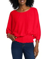 Vince Camuto Smocked Dolman Sleeve Top - Red