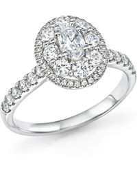 Bloomingdale's Diamond Oval Centre Engagement Ring In 14k White Gold