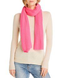 Aqua Cashmere Rib - Knit Cashmere Scarf - Pink