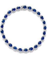 Bloomingdale's Sapphire & Diamond Tennis Bracelet In 14k White Gold - Blue