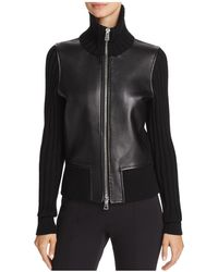 Theory Wilmore Bonded-leather & Knit Zip Jacket - Black