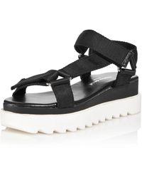 Charles David Women's Rikki Webbing Platform Sandals - Black