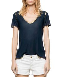 Zadig & Voltaire Tino Gold Foil Trimmed Tee - Blue