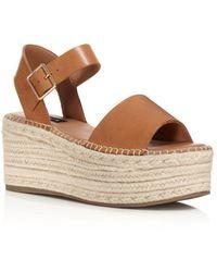 Aqua Women's Rowan Leather Espadrille Platform Sandals - Brown