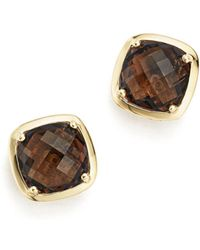 Bloomingdale's - Smoky Quartz Stud Earrings In 14k Yellow Gold - Lyst
