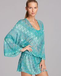 Vitamin A Bianca Caftan Tunic Swim Cover Up - Blue