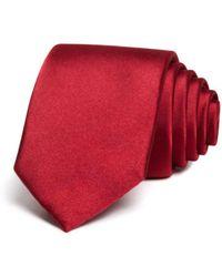 Bloomingdale's Solid Satin Skinny Tie - Red