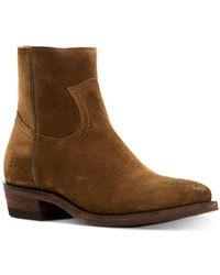 Frye Women's Billy Zip Pointed - Toe Western Booties - Brown