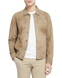 Theory Suede Shirt Jacket - Natural