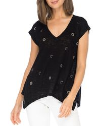 B Collection By Bobeau Embroidered Sharkbite Top - Black