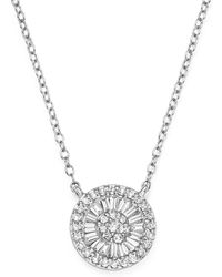 Bloomingdale's - Diamond Round And Baguette Cluster Pendant Necklace In 14k White Gold - Lyst