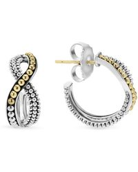 Lagos - Sterling Silver Hoop Earrings With 18k Gold Caviar Beading - Lyst