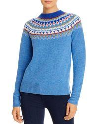 Tory Burch Fair Isle Wool Jumper - Blue