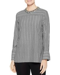 Misook Cross Stripe Blouse - Black
