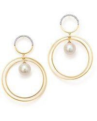 Mateo - 14k Yellow Gold Half Moon Diamond & Cultured Freshwater Pearl Axis Earrings - Lyst