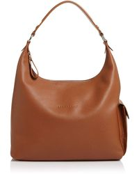 Longchamp Le Foulonne Leather Hobo - Brown